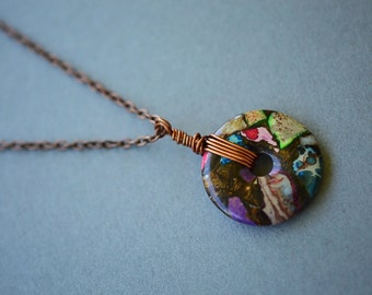 Sea Sediment Necklace, Copper Necklace, Antique Copper Necklace, Long Boho Necklace, Gemstone Necklace, Wire Wrapped Necklace, Jasper