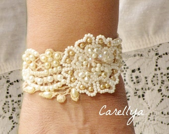 Ivory and gold pearl bracelet vintage style jewelry for bride Lace bracelet ivory pearl bracelet lace bridal cuff bracelet wedding jewelry