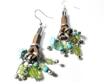 Dangle earrings, Cluster leather earrings, Gemstone earrings, Green earrings, Long earrings, Turquoise dangle earrings, Bouquet earrings