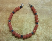 Rhodochrosite & azurite bracelet, sterling clasp
