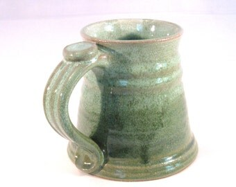 Stein - Tankard - Renaissance  Stein - Coffee Mug - Pottery Stein - 16 oz. -  Handmade Pottery - Pottersong  - Bright Green - Frosted Green