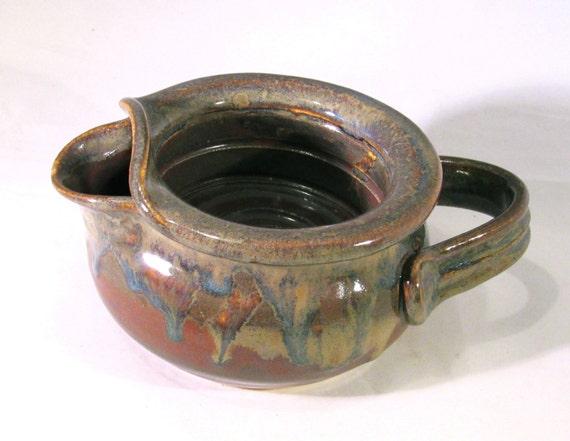 Shaving Scuttle Mug Cup Bowl For Comfort Hot Wet Shave - Handmade Pottery Glazed Rust Red, Blue, Gold, Brown, Black