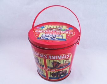 Cookie Tin Barnum's Animals Cracker Canister with Handle Vintage 90s