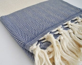 BathStyle / Herringbone Bathstyle Turkish BATH Towel Handwoven Peshtemal - Navy Blue - B - Beach, Spa, Swim, Pool Towels - Soft