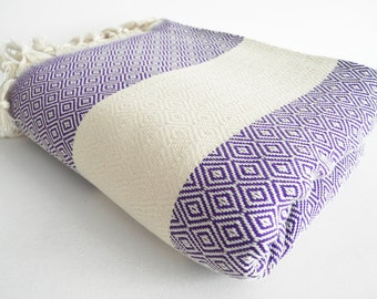 SALE 30 OFF / Diamond Blanket / Purple / Double Size / Bedcover, Beach blanket, Sofa throw, Traditional, Tablecloth