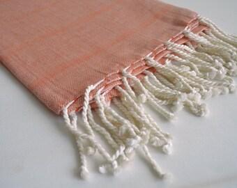 SALE 50 OFF / Turkish Beach Bath Towel / Linen - Cotton / Terra cotta