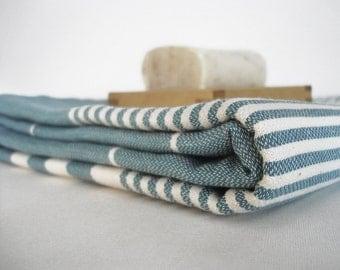 SALE 50 OFF/ Turkish Beach Bath Towel / Classic Peshtemal / Dark Turquoise / Wedding Gift, Spa, Swim, Pool Towels and Pareo