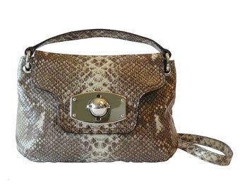 Authentic Furla Python Embossed Leather Spectator Crossbody Shoulder Bag Clutch