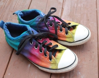 Tie dye Rainbow shoes Converse upcycled