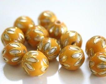 SALE Mustard floral spheres - Floral Cloisonné Meena beads (2) 12mm