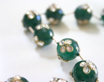 GREEN Gorgeous Kundan Gemstones - Top Drilled Gemstone beads from India (2)