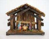 Vintage Nativity Creche Set Small Rustic Wood Manger Scene 5 Piece Figurine Made in Italy Mid Century Christmas Decoration