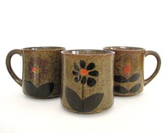 Vintage Stoneware Mug Set of 3 1970s Hand Glazed Speckled Ceramic Coffee Mugs Floral Earthy Rustic Brown Orange Gift
