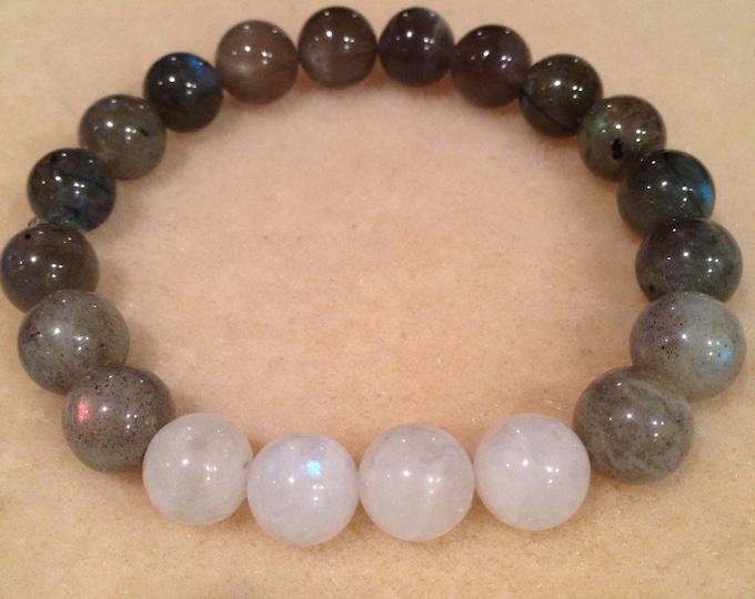LUNAR MOONPHASE Black Moonstone, Rainbow Moonstone, & Labradorite 10mm Round Bead Stretch Bracelet