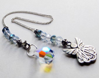 Angel Pendulum - faceted crystal ball, divination, Reiki healing, crystal healing, Aurora Borealis crystal