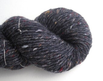 Bulky Weight Recycled Wool Yarn, Navy Tweed, Lot 010916, Reclaimed Wool
