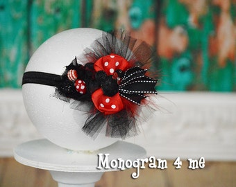 Minnie Mouse 1st Birthday Headband - Hair Bow - Minnie Mouse Birthday - Disney - Photo prop