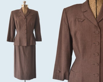 1950s Brown Wool Suit size S
