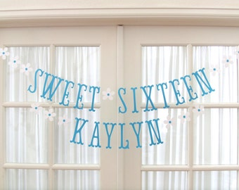 SWEET SIXTEEN Birthday Banner with Flowers.  Ships Priority.  5280 Bliss.  Princess Party Banner.  Tea Party.  Banner. Girl Birthday Banner.