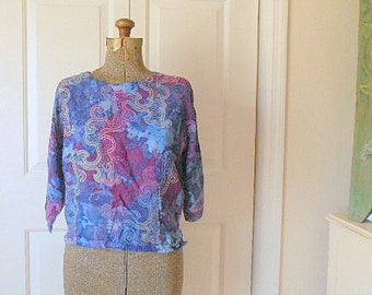 Vintage watery purples and blues Batik boxy Top