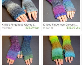RESERVED LISTING - Multicolor Fingerless Mittens 9-10 Inches Length (12 pairs) - Multicolor (Self Patterned)
