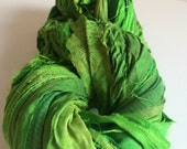 Sari Silk Ribbon,henna green, 100g, craft ribbon, Eco Friendly Yarn, sari wrap bracelet, weaving yarn, jewellery making yarn