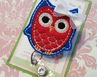 Owl badge reel- badge reel- id holder