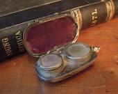 Antique Victorian Sovereign Coin Holder / Silver Plate Money Holder / Aubergine Velvet Interior / Pocket Holder