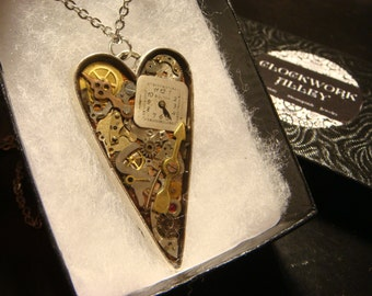 Clockwork Heart with Gears and Watch Parts Steampunk Pendant Heart Necklace- Great Valentines Day Gift (1969)