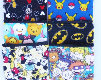 Party Favors Set of 6 Assorted Coin Bags //MIckey Mouse // Bridesmaid Gift// Party Favors // Tsum Tsum // Batman // Rugrats // Pokemon