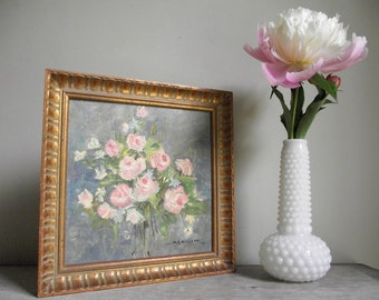 Framed Floral Still Life Painting | Pink Roses in Gold Frame | Vintage Oil Painting | Summer Bouquet Cottage Chic