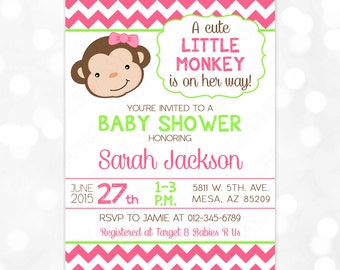 Monkey Baby Shower Invitation - Girl Baby Shower Invite Pink Green Chevron Little Monkey It's A Girl DIY Printable Invite PDF (Item #6)