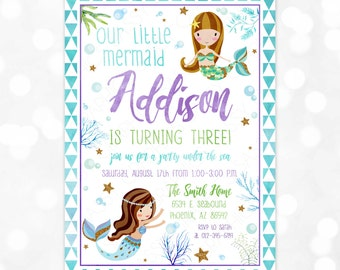 Mermaid Birthday Invitation - Girl Birthday Invite Under the Sea Little Mermaid Birthday Watercolor Glitter DIY Printable Invite PDF (#3)