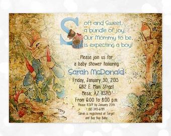 Boy Baby Shower Invitation - Baby Boy Blue Peter Rabbit Vintage DIY Printable Invite PDF Beatrix Potter (Item #3)
