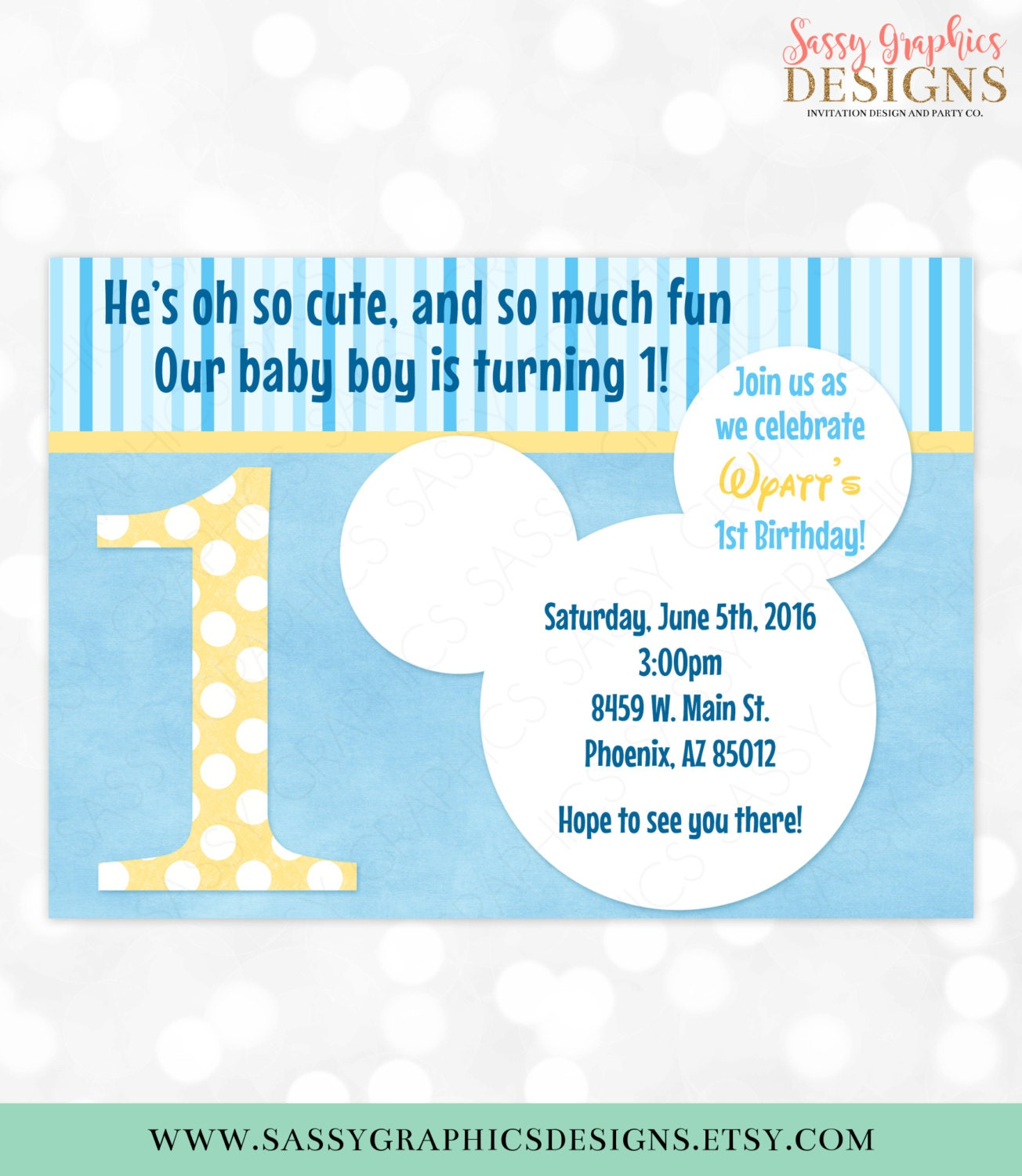 1st Birthday Mickey Mouse Birthday Invitation Baby Mickey Oh – Baby Mickey First Birthday Invitations