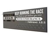 Running medal holder, running medal holder rack, race medal holder, race bib holder, gifts for runner, running gift, Hebrews 12:1,  display