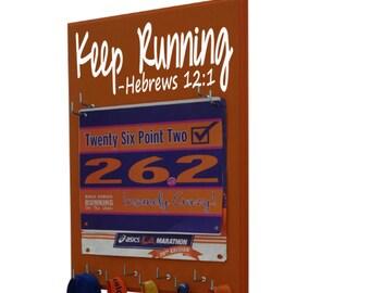 inspirational race bib holder, Keep running… Hebrews 12:1 - Runners gift