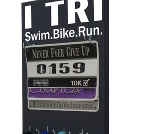 Triathlon race bibs hanger - triathlon medals holder - triathlon medal and bib holder - triathlon, I tri: swim bike run - Ironman triathlon