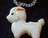 Incredibly Cute White Poodle Dog Pendant Rhinestones Necklace Charm