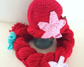 Mermaid hat, mermaid hat for toddlers, red haired wig, princess hat for toddlers, halloween costume for girls, toddler halloween costume