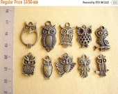 50% OFF Moving Sale - Lot of 10 pcs Owl Pendant Collection 10 Style Antiqued Bronze C-198