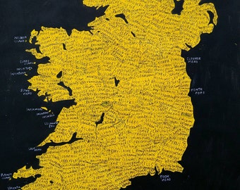 Ireland No.11, painted map, 40cm x 50cm, free postage