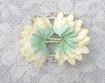20 Paper Rose leaves, Pale Yellow and Pale Green, Scrapbooking, Card Making, Altered Art, Mixed Media, Mulberry Paper.