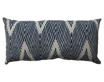 Indigo navy and white geometric ikat lumbar pillow cover