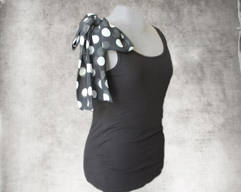 Black shoulder bow tank/Polka dot top/Adjustable shoulder bow/Sleeveless women tee