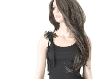 Black tank top/shoulder organza flower/sleeveless women tee