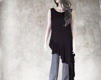 Top asymmetrical drape/Women black sleeveless/Long tank drape side