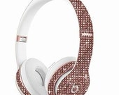 Wireless Studio 3 Beats by Dre Custom Headphones Porcelan Rose made with Swarovski crystals clear