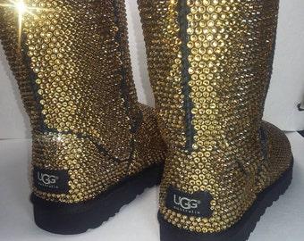 Custom Classic Ugg Boots, Black Classic Uggs, Swarovski Uggs, Uggs, Ugg Boots, Bedazzled Uggs, Crystal Uggs, Bling Uggs,  Boots, Custom uggs