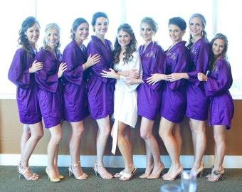 Bridesmaid robes Purple wedding robe eggplant bridesmaid silk robe dressing gown personalized silk robe kimono robes floral robe bridal robe